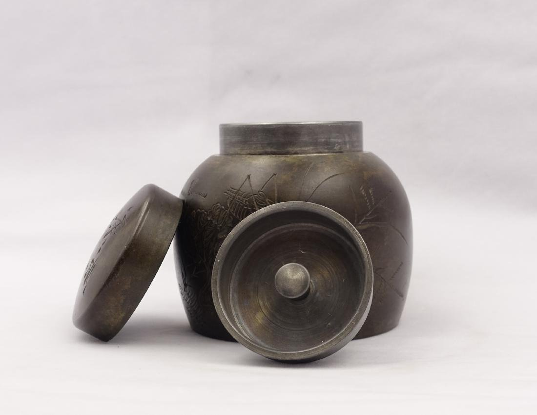 CHINESE PEWTER TEA CADDY - 3