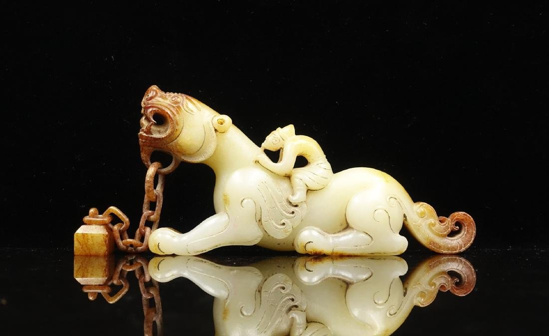 CHINESE ARCHAIC JADE CARVED BEAST