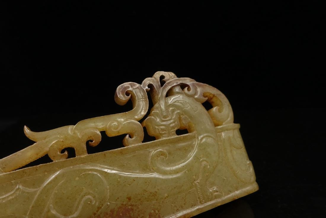 CHINESE ARCHAIC JADE SWORD SCABBARD MOUNT - 3