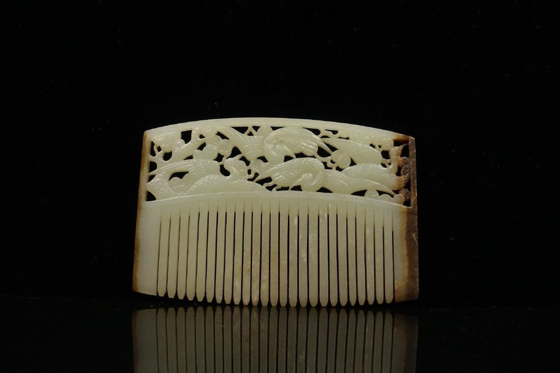 CHINESE JADE HAIR COMB CARVED BIRDS