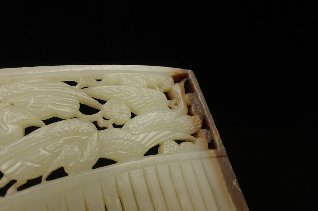 CHINESE JADE HAIR COMB CARVED BIRDS - 6