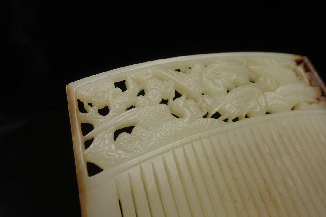 CHINESE JADE HAIR COMB CARVED BIRDS - 7