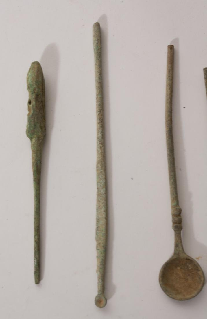 GROUP OF 9 ANCIENT ROMAN BRONZE MEDICAL TOOLS - 2
