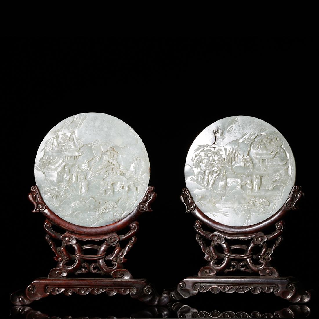 CHINESE PAIR OF QING DY. WHITE JADE TABLE SCREENS