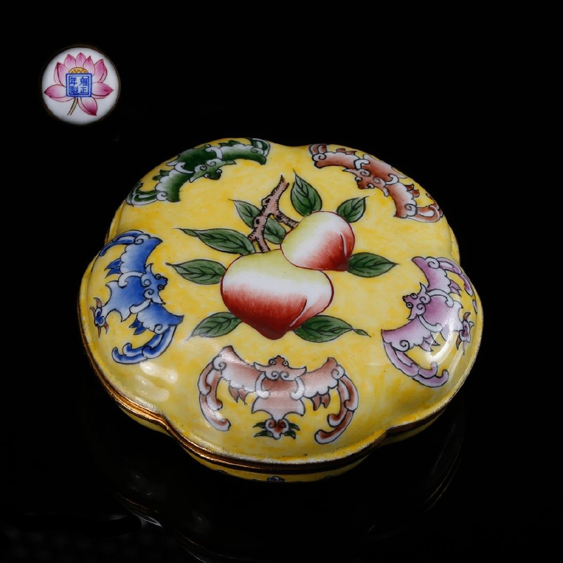 CHINESE BRONZE ENAMEL COVER BOX