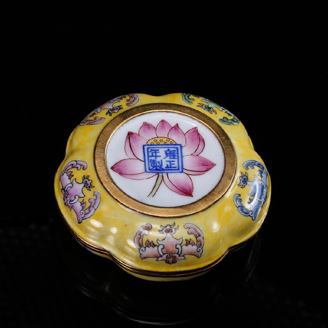 CHINESE BRONZE ENAMEL COVER BOX - 2