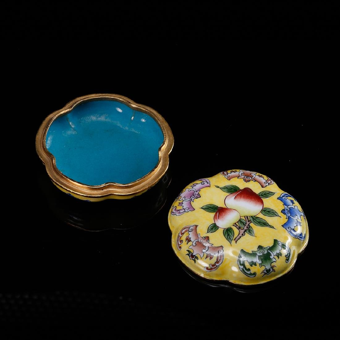 CHINESE BRONZE ENAMEL COVER BOX - 3