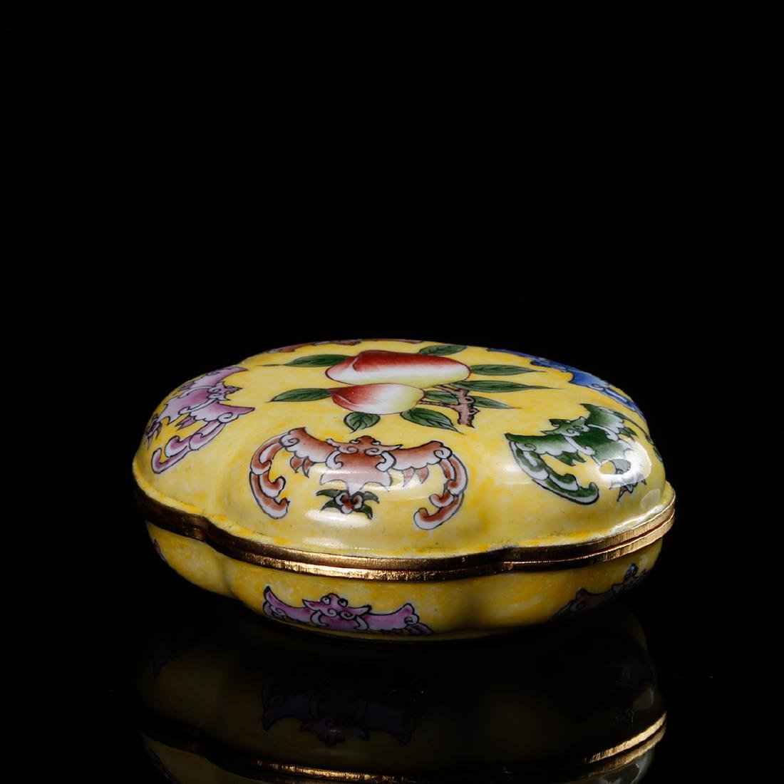 CHINESE BRONZE ENAMEL COVER BOX - 4