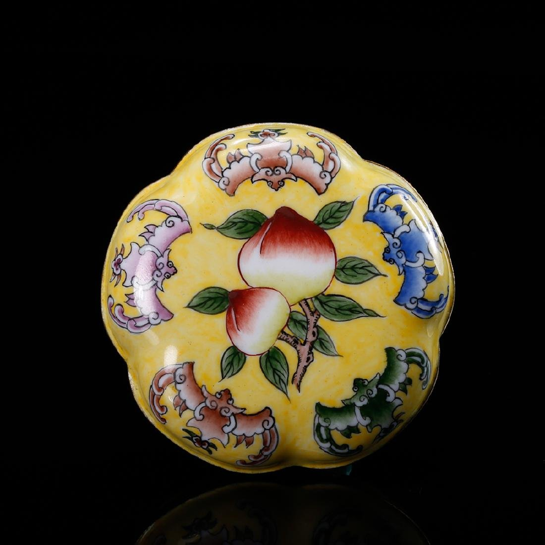 CHINESE BRONZE ENAMEL COVER BOX - 5
