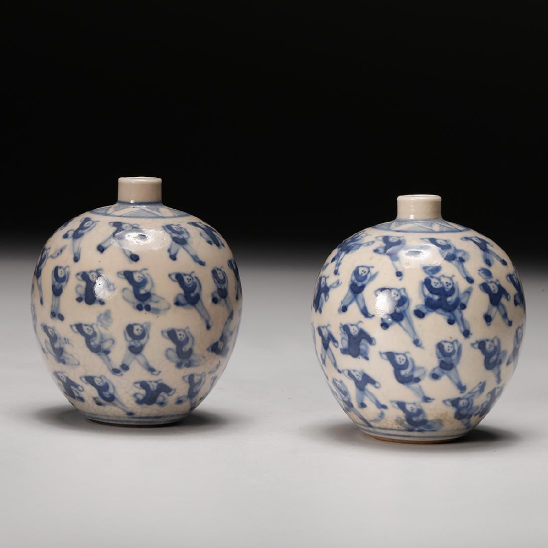 CHINESE PAIR OF BLUE WHITE PORCELAIN BOTTLES