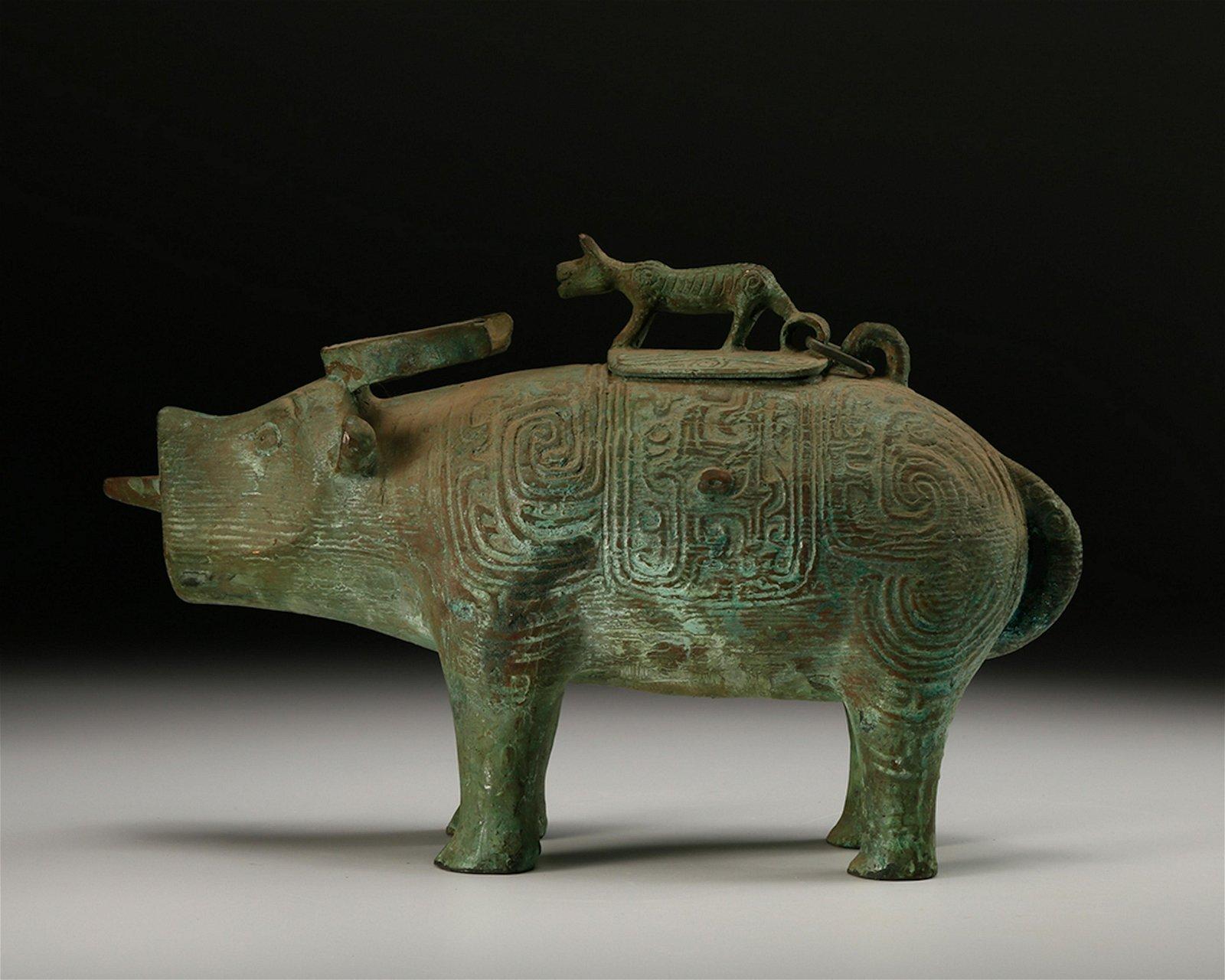 CHINESE ARCHAIC BRONZE BOAR CENSER VESSEL
