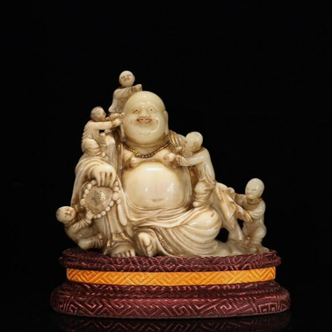 CHINESE SOAPSTONE CARVED HOTEI WITH BOYS