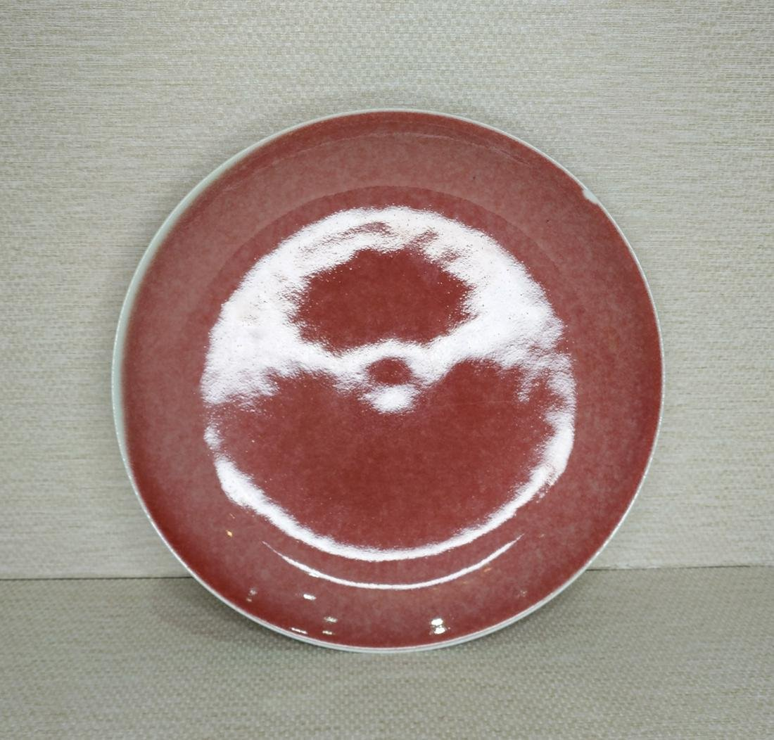 CHINESE OXBLOOD GLAZED PORCELAIN PLATE, MARKED
