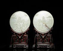 Chinese White Jade Buddhist Motif Plaque Table Scr
