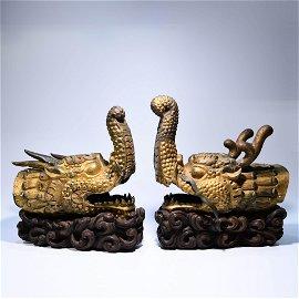 A Pair of Chinese Gild Bronze Capricorn fish Ornament
