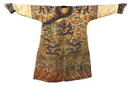 Chinese Yellow Ground Embroidery Dragon Imperial Robe