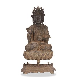 A Chinese Bronze Guanyin Seated Statue With Base Bottem