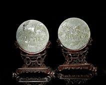 Chinese Celadon Jade Table Screen, Pair