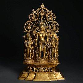A Gilding Copper Guanyin Statue