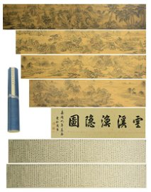 Chinese Long Handscroll Painting Of Landscape Scenery