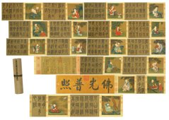 Chinese Handscroll Painting Of The Eighteen Arhats