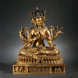 Chinese Gilt Bronze Triple Faces Eight Arms Buddha