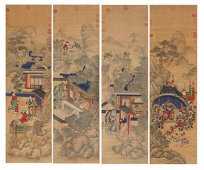 Chinese Painting Four Hanging Scrolls Of Figures'