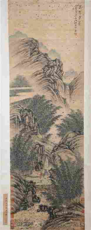 CHINESE A CHINESE LANDSCAPE PAINTING SCROLL SONG FANGHU