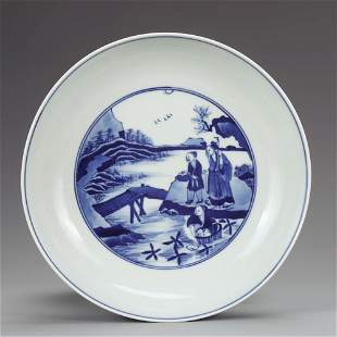 CHINESE BLUE WHITE PORCELAIN PLATE MARKED