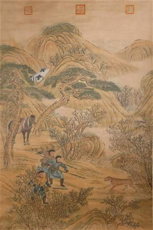 CHINESE A CHINESE HUNTING PAINTING SILK SCROLL LANG