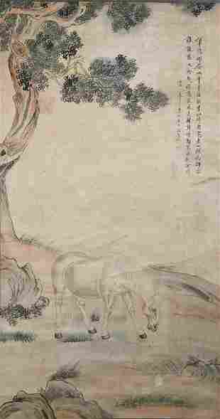 CHINESE A CHINESE HORSE PAINTING SCROLL MA JIN MARK