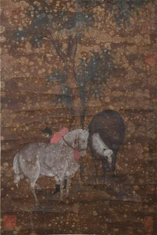 CHINESE A CHINESE HORSE PAINTING SILK SCROLL ZHAO