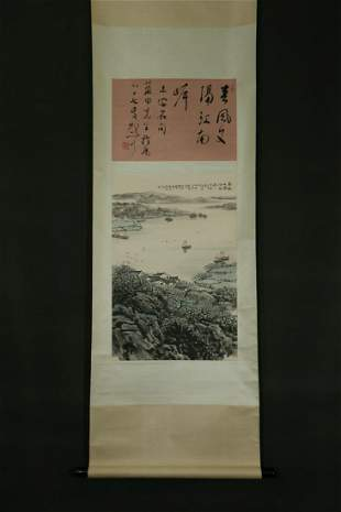 CHINESE A CHINESE LANDSCAPE PAINTING SCROLL SONG WENZHI