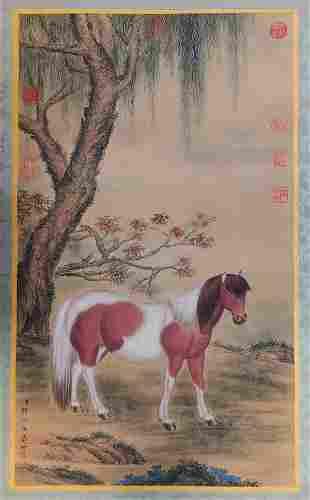 A CHINESE HORSE PAINTING SILK SCROLL LANG SHINING MARK