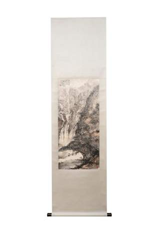 A CHINESE LANDSCAPE HANGING SCROLL PAINTING FU BAOSHI