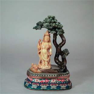 A SHOUSHAN STONE CARVED GUANYIN ORNAMENT