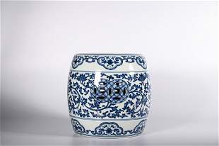 CHINESE BLUE WHITE MINIATURE GARDEN STOOL
