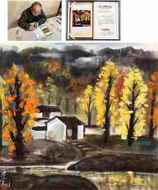 CHINESE INK AND COLOR LANDSCAPE PAINTING
