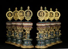 CHINESE CLOISONNE 8 TREASURES STANDS