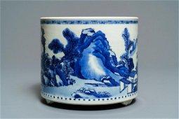 CHINESE BLUE WHITE LANDSCAPE PORCELAIN CENSER