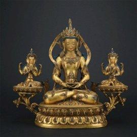 A Gilt-bronze Statue of Amitayus Buddha