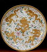 CHINESE FAMILLE ROSE DRAGON PORCELAIN CHARGER