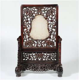 CHINESE WHITE JADE PLAQUE ON ROSEWOOD TABLE SCREEN