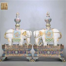 A PAIR OF GILT-BRONZE CLOISONNE ENAMEL ELEPHANT