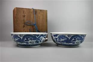 CHINESE BLUE WHITE PORCELAIN BOWLS, PAIR