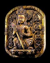 CHINESE WOOD CARVED BUDDHIST FIGURINE