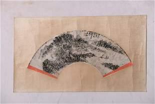 A Chinese Landscape Fan Painting, Huang Binhong Mark