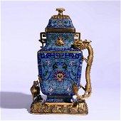 A Cloisonne Enamel Dragon And Phoenix Square Pot And