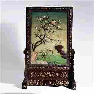 An Inlaid Rosewood Birds And Orchid Table Screen