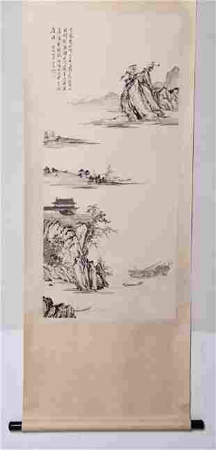 A Chinese Landscape Painting Paper Scroll, Pu Ru Mark